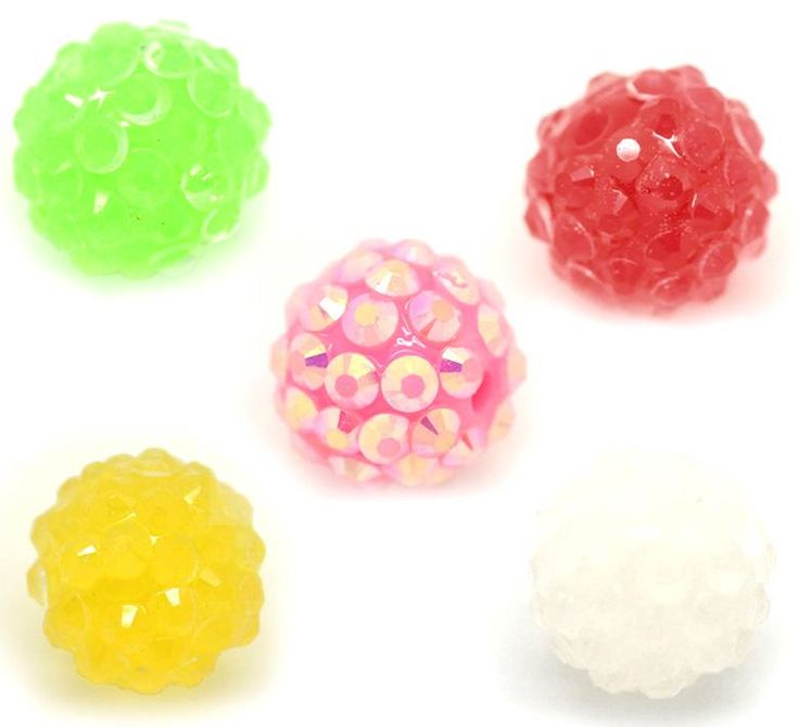 Beads: :: Acrylic , Plastic: :: Rhinestone: :: Acrylic Beads, Rhinestone Balls, Mixed Colours, 14mm, 10pcs - BEST Beading Supplies - Tools, Stringing, Beads, Bulk Buys, Sydney Retail Shop