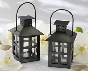 Luminous Black Mini Lantern Tea Light Holder as escort card and favor $3.14