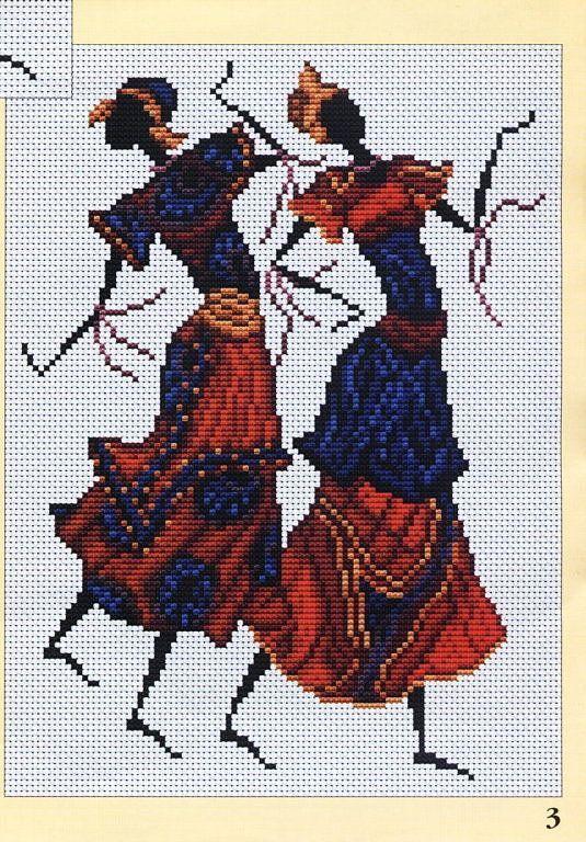 point de croix danseuses africaines - cross stitch african dancers