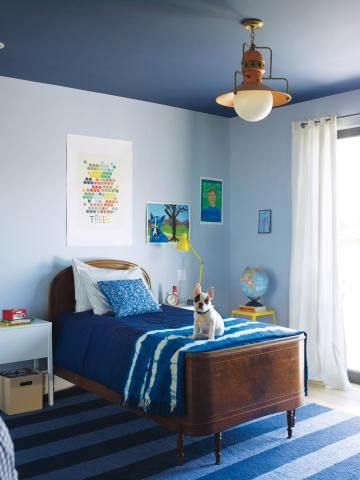 Paint the ceiling of a bright room darker to make it feel cozier.
