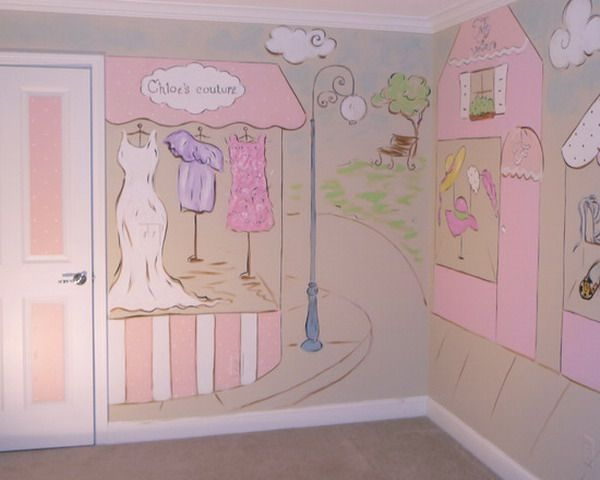 Beautiful Sweet Pink Girls Bedroom Wall Murals Ideas