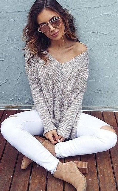 #fall #trending #outfits | Beige Knit + White Jeans
