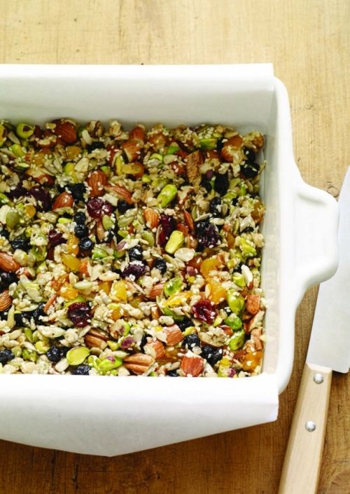 A power bar recipe you can make yourself from dried fruits, nuts, seeds, and rice: http://www.womenshealthmag.com/nutrition/diy-power-bars