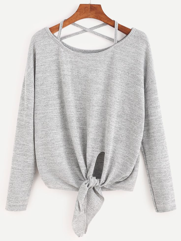 Shop Heather Grey Drop Shoulder Criss Cross Tie Front T-Shirt online. SheIn offers Heather Grey Drop Shoulder Criss Cross Tie Front T-Shirt & more to fit your fashionable needs.