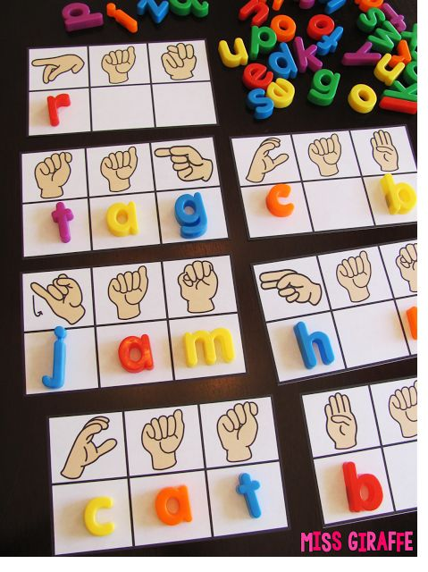 Sign language CVC words cards that are super fun and a ton of other great hands on reading activities for kids on this blog
