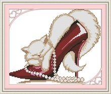 rode mode hoge hakken kat kit 11ct kruissteek 14k wit bedrukt katoen borduurwerk diy handgemaakte handwerken muur home decor(China (Mainland))