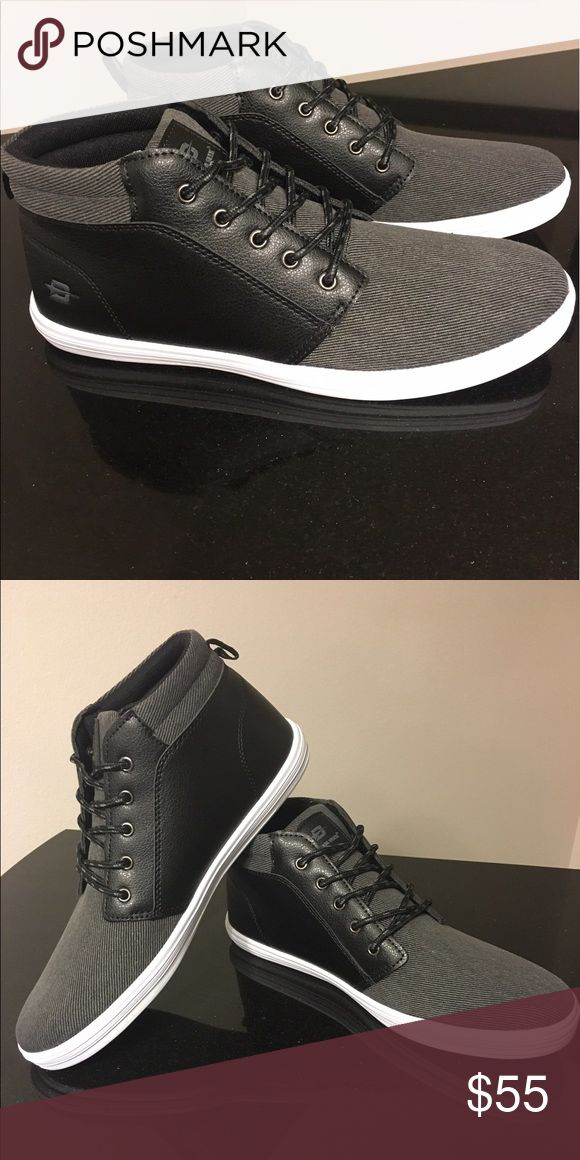 Men's casual sneakers Men's high top sneaker, with black and grey contrast and white sole. Dream Seek Shoes Sneakers