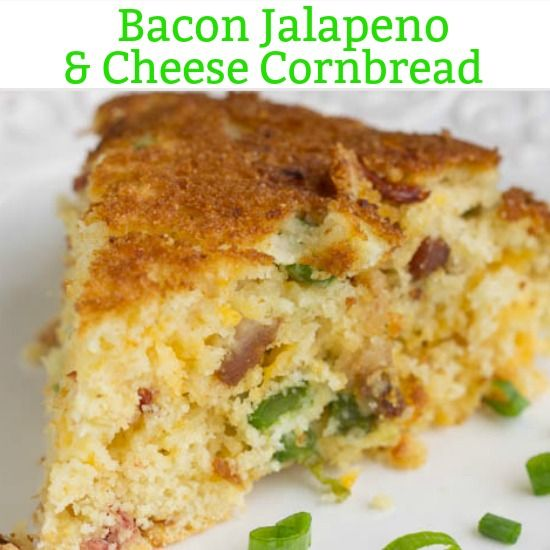 Sweet & savory, Southern Cheesy Jalapeno Bacon Skillet Cornbread, is full of smokey bacon, spicy jalapenos, & creamy cheese. It's great alone or as a side!
