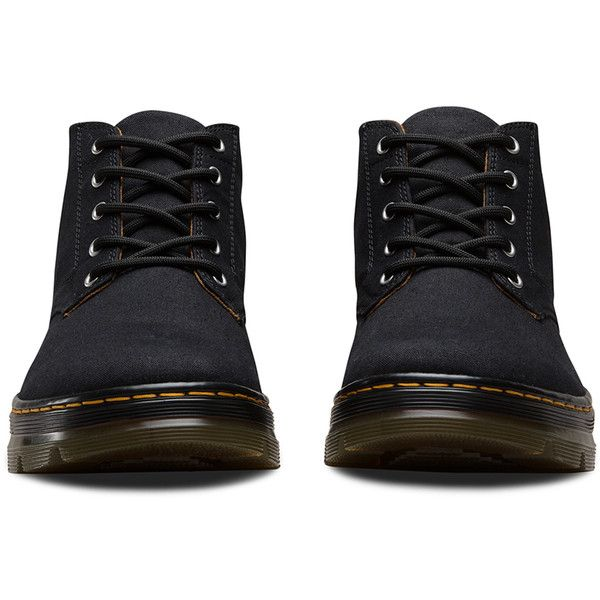 Dr. Martens Canvas Bonny Hiking Boots (1.132.455 IDR) ❤ liked on Polyvore featuring shoes, boots, black, wide width hiking boots, chukka boots, black chukka boots, lightweight boots and wide black boots