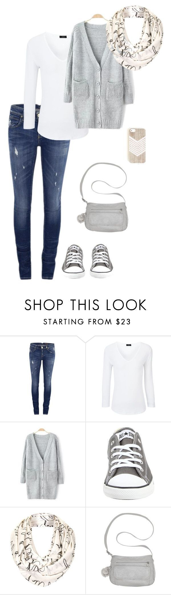 casual grey by miss-hummingbird on Polyvore featuring Mode, ONLY, Joseph, Converse, Topshop, Kipling, casual, converse, comfy und grey