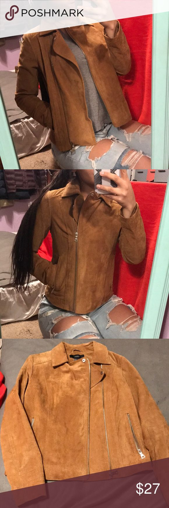 Forever 21 suede tan bomber jacket size small Never worn!!! Forever 21 small bomber jacket!! So so so cute!! Tan suede!! Pockets and cute zipper !! Ask me any questions and make offers Forever 21 Jackets & Coats