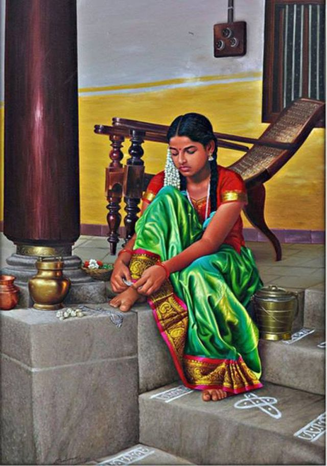 "Tamil girl fixing her jewel on leg ""Kollusu"" - Painting by S. Elayaraja"