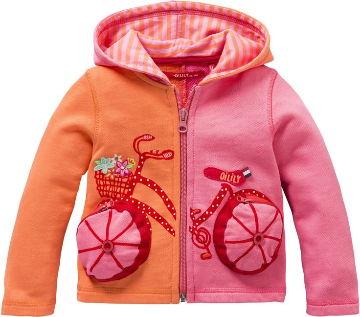 Oilily SS14 Orange Hicycle Hooded Sweat Cardigan | Oilily | Designer Kids Clothes