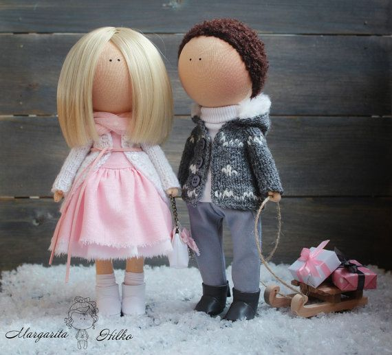 Soft doll couple handmade pink color Decor doll American doll Collectable doll…