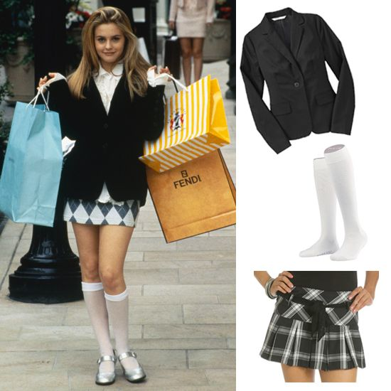 In order to pull off Cher from Clueless, you'll need a plaid miniskirt, a blazer, knee-high socks, and lots of high-end shopping bags. As if!    Black blazer (similar to picture), $50  White knee-high socks, $21  Plaid mini skirt (similar to picture), $44