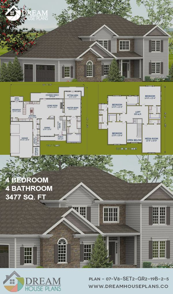 Dream House Plans Affordable Southern Family 4 Bedroom 3477 Sq Ft House Plan With A Basement We Ha New House Plans Southern House Plans Family House Plans