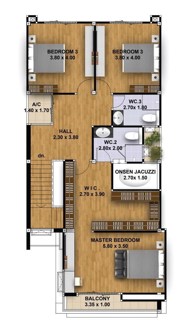 House Design 3d 10x21 With 4 Bedrooms Tiny House Design 3d Tiny House Design House Design Narrow House Plans