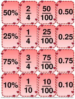 Valentine's Day: Valentine's Day Math style fractions, decimals and percentages cards.  Fractions Fun! Fractions: Decimals Cards and Fractions Cards: Now in Valentine's Day / Mother's Day/ Love Heart Style: Just in time for the special day.    Decimals and Fractions Cards (Now in Valentine's Day / Mother's Day/ Love Heart Style: Just in time for the special day.)  139 mini cards (now with a bonus 69 cards for children to color in - to make 208 cards in total)   - 1 fraction, decimal, or ...