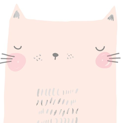 Sleepy cat - Aless Baylis, cat, doodle, drawing, pink, girly, cute character, design, illustration