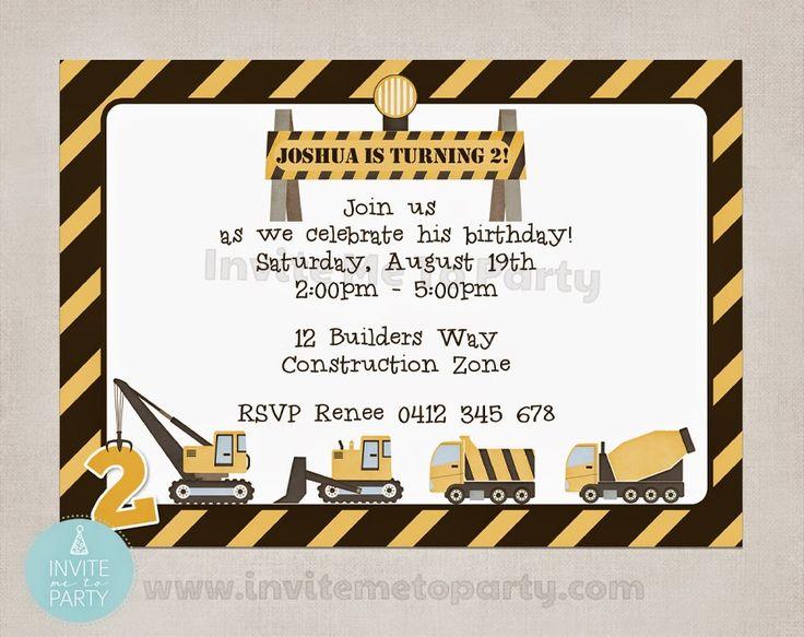 Construction Party Invitation  Invite Me To Party: Construction Party / Digger Party