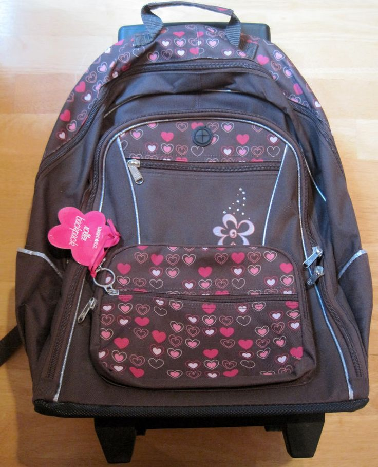 Limited Too~Girls Rolling Backpack~Brown Pink Hearts Flower~Keychain~Wheels~NWT #LimitedToo