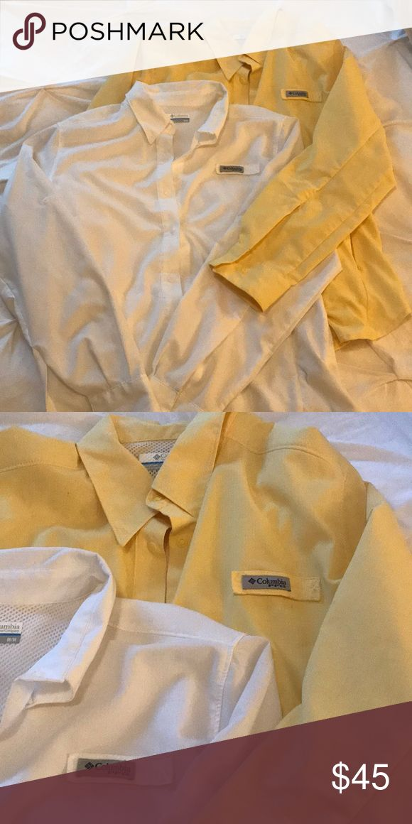 Lightly worn women's Columbia PFG Two lightly worn women's Columbia PFG shirts. Both long sleeve and have the snap buttons. Have zipper pockets. Both mediums. One yellow and one white. In perfect condition. Originally each cost about $45. Will sell both for the price of one. Columbia Tops