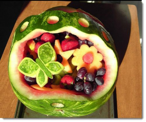 Watermelon Fruit Basket Recipe | Watermelon Basket with Fruit Flowers  Butterflies I Made for Mom on ...