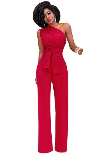 d25f69e3582b Womens One Shoulder Sleeveless Waist Tie Wide Leg Jumpsuit Red ...