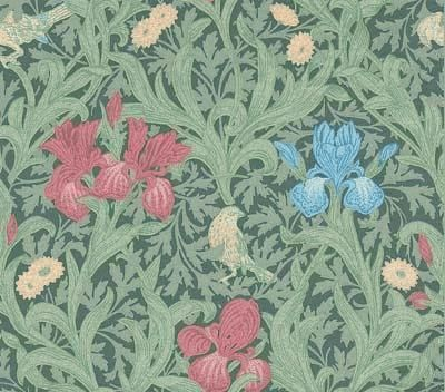 Iris (WR8042/3) - Morris Wallpapers - A flat wallpaper that is suitable for most rooms except kitchens and bathrooms