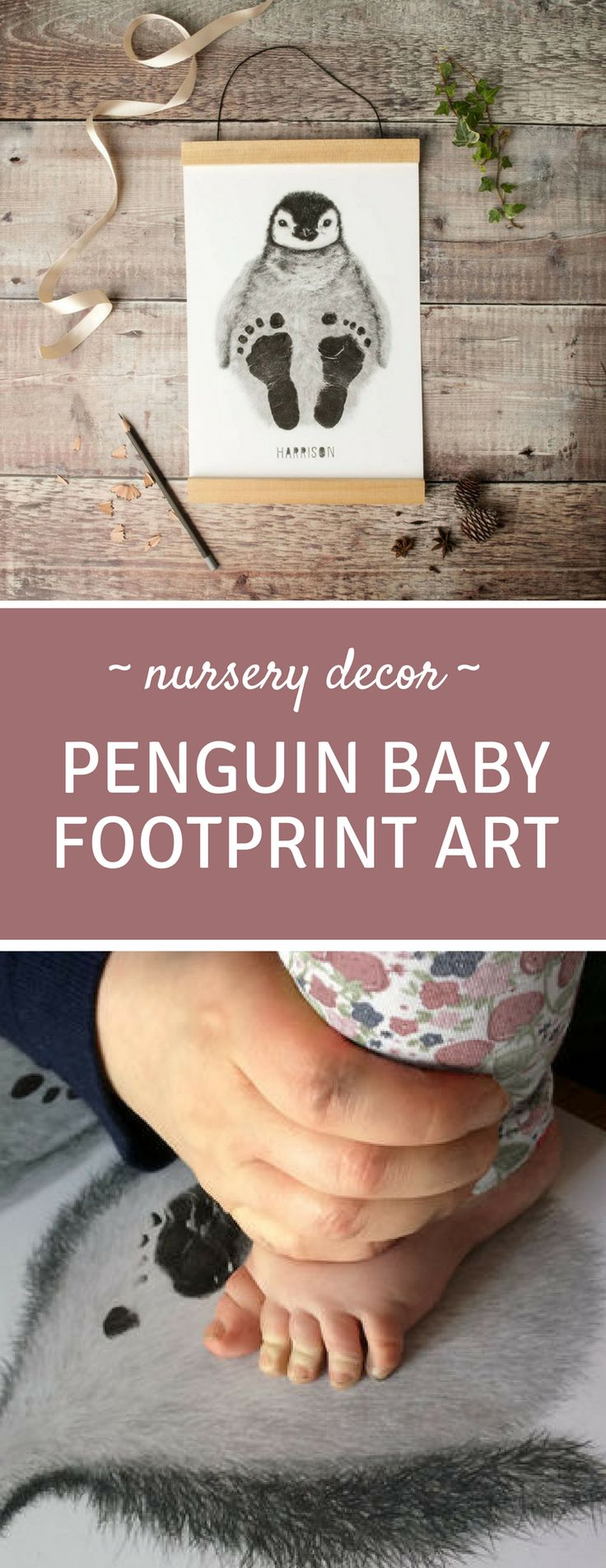 Baby Footprint Art - Penguin Kit - How adorable is this penguin complete with baby's footprints! This would look fabulous in the nursery and make a really thoughtful baby shower gift! #ad #nurserydecor #babyshowergifts