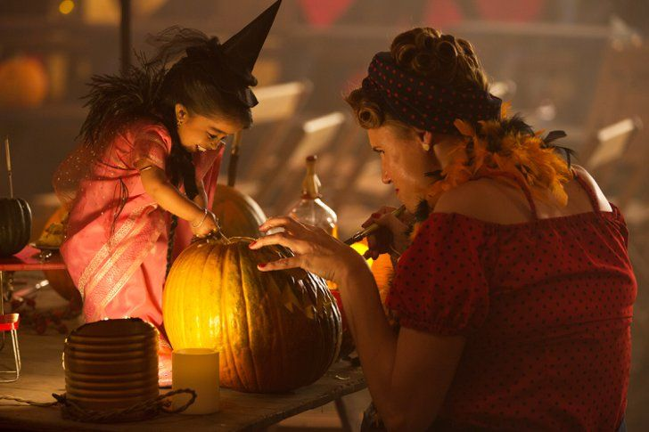 Pin for Later: The Halloween Pictures of American Horror Story: Freak Show Are as Freaky as You'd Expect  She and Amazon Eve (Erika Ervin) carve pumpkins together.