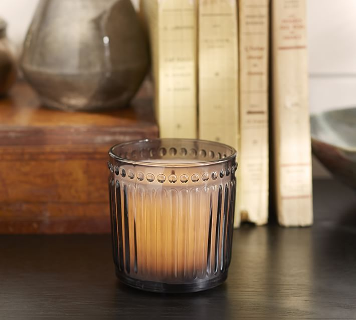 Translucent Gray Glass Flameless Candle Pot with a Realistic Wick ...