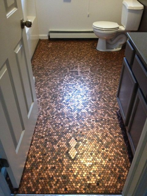 How to Make a Penny Floor/Renovate a Bathroom for Under $400 -- via wikiHow.com I am definitely going to do this1