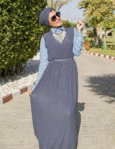 polka dots dress turban style- How to wear long tunic with hijab…