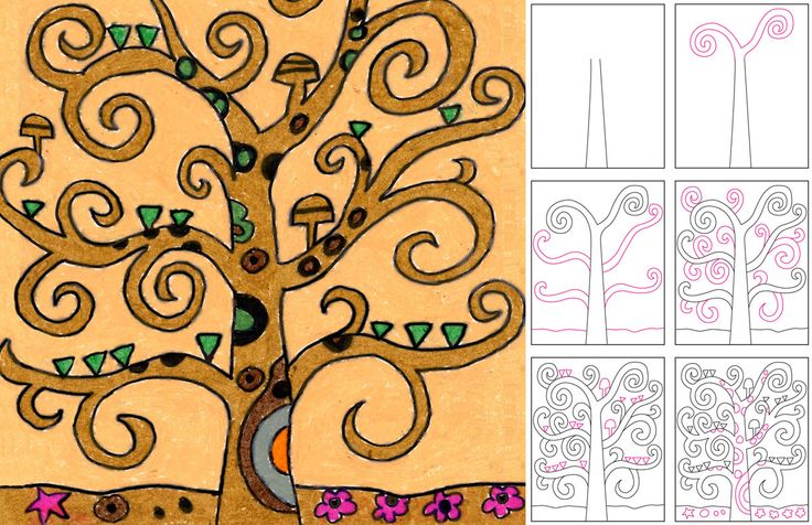 Art Projects for Kids: Draw Klimt's Tree of Life. And it's Klimt's Birthday