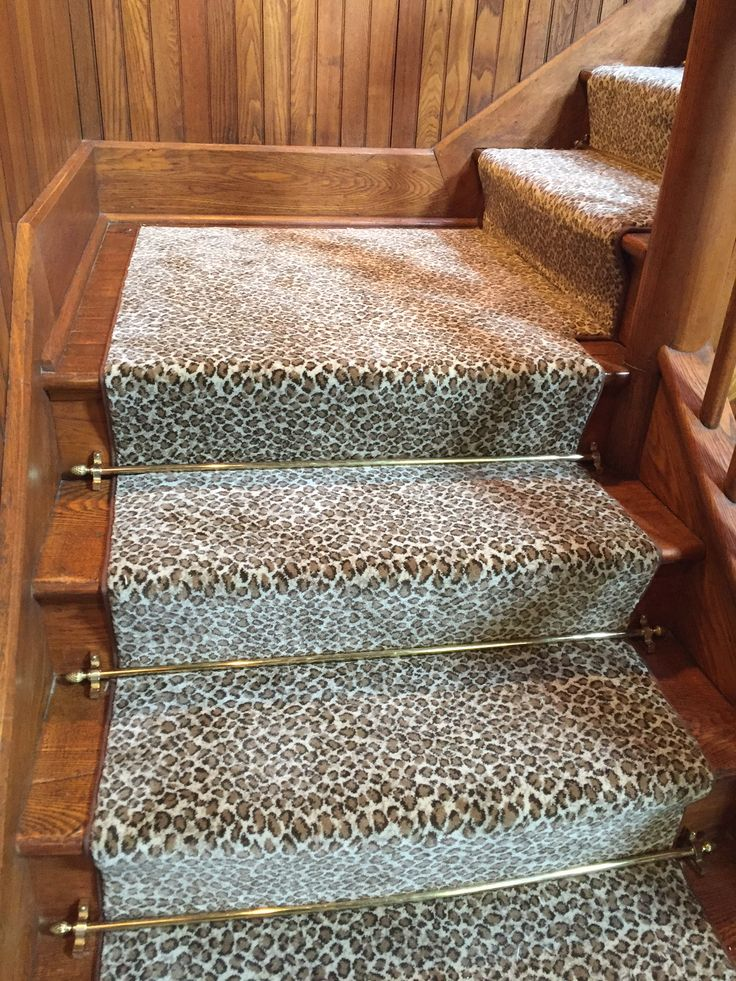 Animal Print Carpet On Steps As Runner With Decorative Stair Rods.