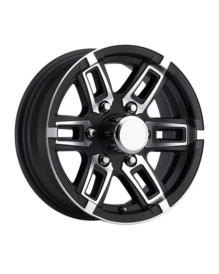 "T06 Aluminum Trailer Wheel with Black Inlay available in sizes 14"", 15"" and 16"". Silver and Gunmetal Inlay."