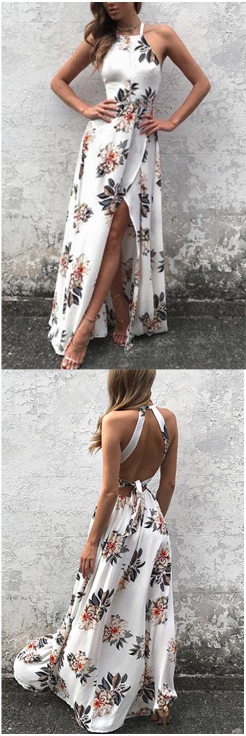 Sleeveless Side Split Back Lace-up Random Floral Print Maxi Dress,Halter Prom Dress,Plus Size Evening Dress,Prom Dresses,HF67