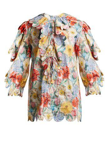Floral-print scallop-edged cotton blouse