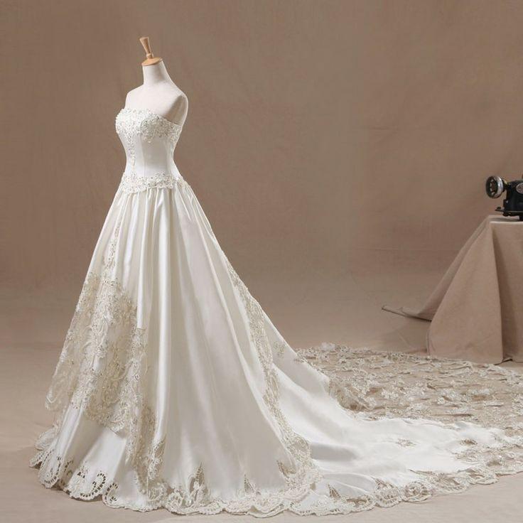 ウェディングドレス Aライン ビスチェ チャペルトレーン 豪華なカットレース 挙式 ブライダル 結婚式 B14TB0083 価格 ¥134,862