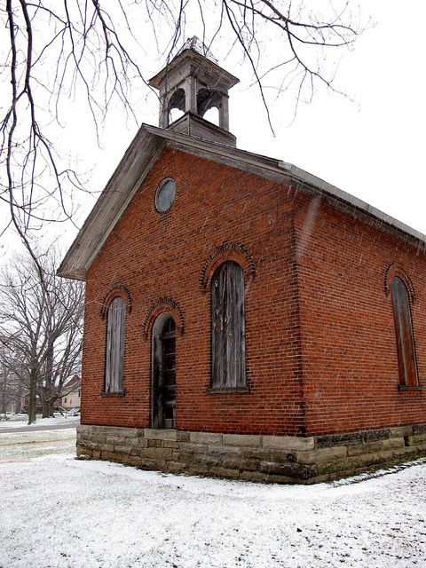 Abandoned Schoolhouse - Vermilion, OH      This is one of the more elaborate schoolhouses I've seen in the Ohio countryside. The arched windows and bell tower set it apart from everything else.Haunted Beautiful