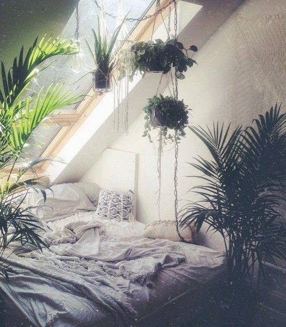 schlafzimmer ideen im boho stil mit vielen pflanzen
