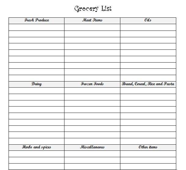 8 best Printable Grocery List images on Pinterest Grocery lists - printable shopping list with categories