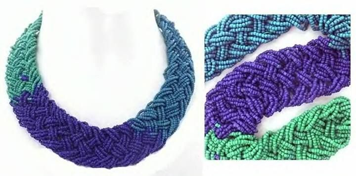 3 Colour blue beaded collar necklace