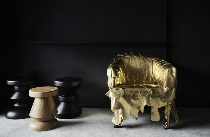 Gold Edra Leather Works armchair by Fernando and Humberto Campana + Sabrina Wood Turned Stools by Zuster Furniture