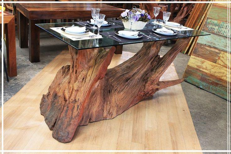 Base Tronco para mesa de Jantar G Ligno LD  para vidro
