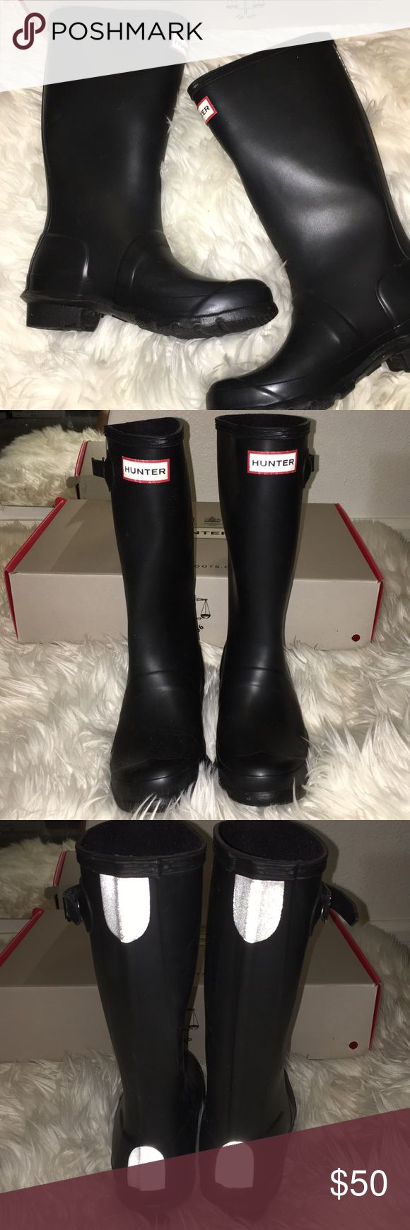AUTHENTIC Hunter boots Kids Hunter rain boots size 3 in kids (5 women) black. Comes with original box. Worn ONCE Hunter Shoes Rain & Snow Boots