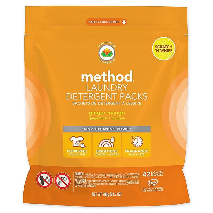 Method 42 Count Laundry Detergent Packs In Ginger Mango Orange