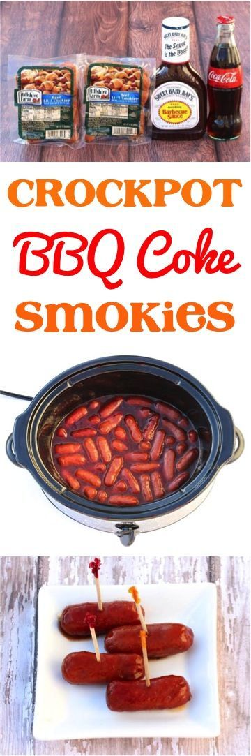 Crock Pot BBQ Coke Little Smokies Appetizer Recipe!  Just 3 ingredients and the ultimate party food!