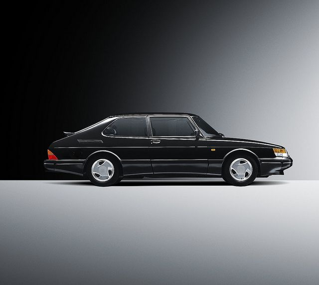"Black Saab 900 Turbo Coupe. Saw one of these on the road today and was like, ""Wow, interesting lookin car. I must pin this..."""